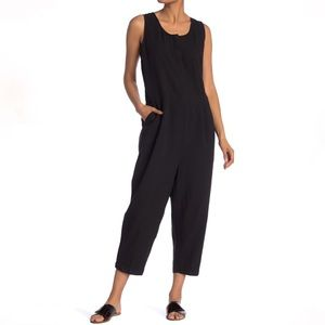 Eileen Fisher Black Sleeveless Pleated Jumpsuit